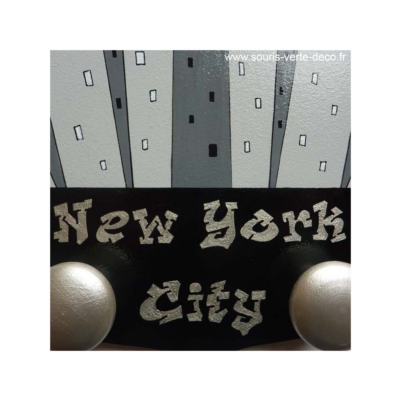 Portemanteau mural new york d coration pour chambre d enfant ou d ado en boi - Porte manteau new york ...