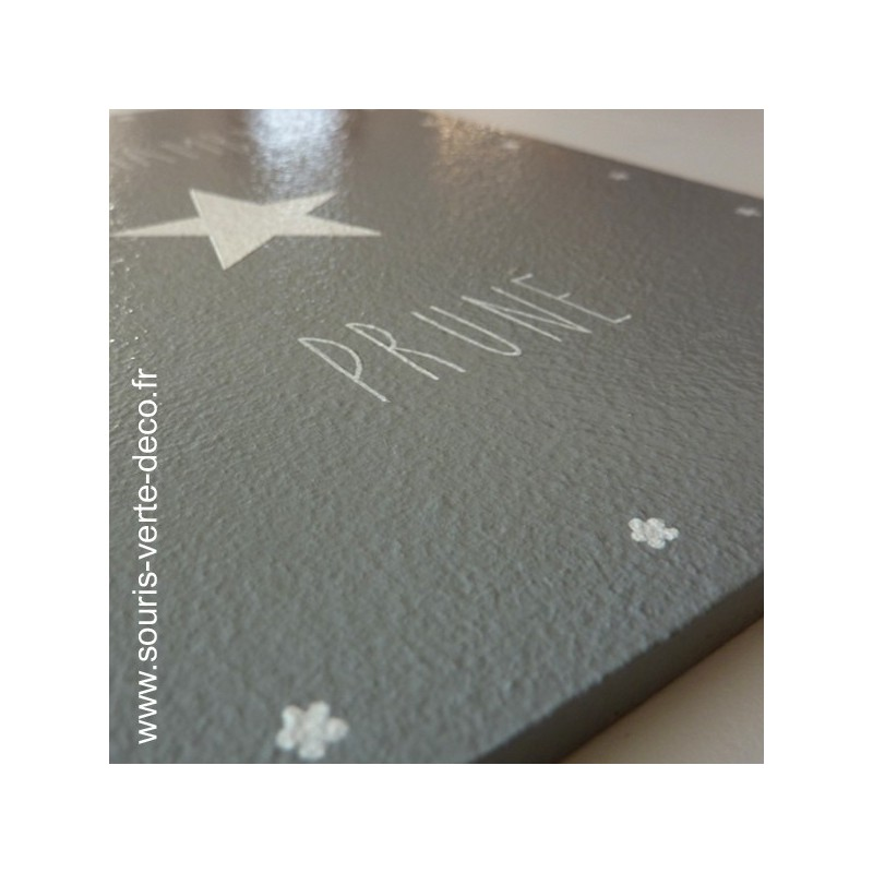 Plaque de porte grise et blanche avec pr nom d coration - Chambre bebe grise et blanche ...