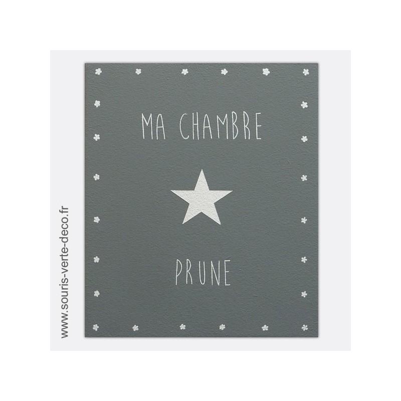 Plaque de porte grise et blanche avec pr nom d coration chambre fille et b b peinte la main - Plaque de porte chambre enfant ...