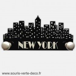 Portemanteau mural New York noir et argent personnalisable