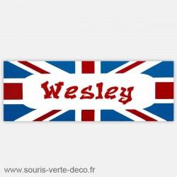 Plaque de porte drapeau anglais rectangulaire fuchsia / gris ou rouge / bleu prénom personnalisable