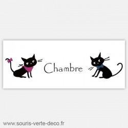 Plaque de porte de chambre couple de chats, personnalisable