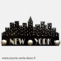 Portemanteau mural New York noir et argent, personnalisable