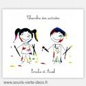 Plaque de porte artistes fille et garçon avec prénoms pour chambre jumeaux ou chambre double personnalisable