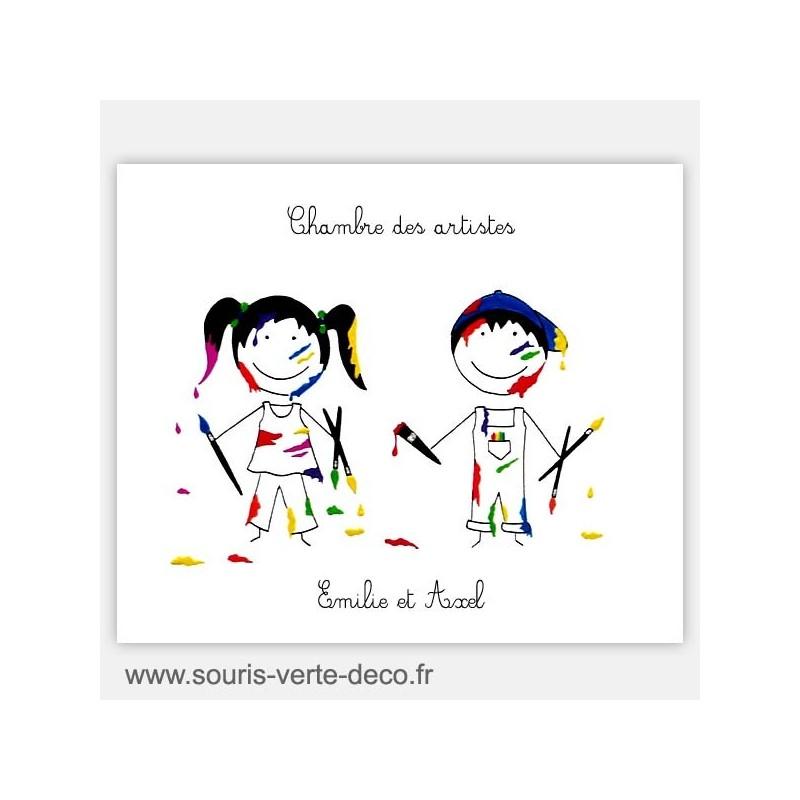 Plaque de porte artistes fille et gar on pr noms personnalisables pour jumeaux ou chambre double - Chambre jumeaux garcon et fille ...