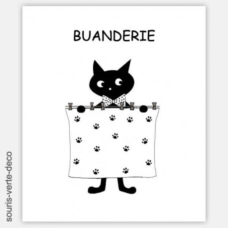 Plaque de porte de buanderie humoristique Chat noir, personnalisable