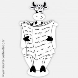 Plaque de porte de toilettes  humoristique Vache noire et blanche