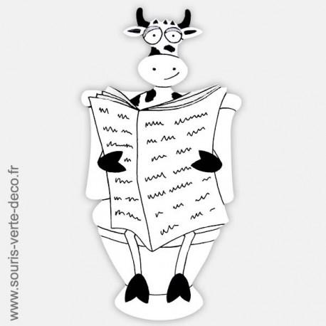 Plaque de porte de toilettes Vache noire et blanche humoristique