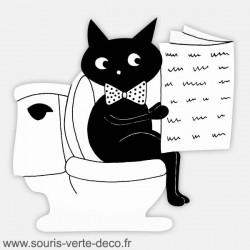 Plaque de porte de toilettes chat humoristique noir et blanc personnalisable