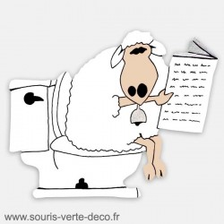 Plaque de porte de toilettes humoristique mouton, personnalisable