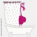 Plaque de porte de salle de bains Flamant rose, personnalisable