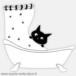 Plaque de porte de salle de bains humoristique Chat, noire et blanche, personnalisable