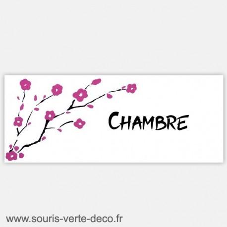 Plaque de porte fleurs de cerisier, texte personnalisable