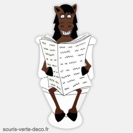 Plaque de porte de toilettes cheval humoristique marron et blanc personnalisable