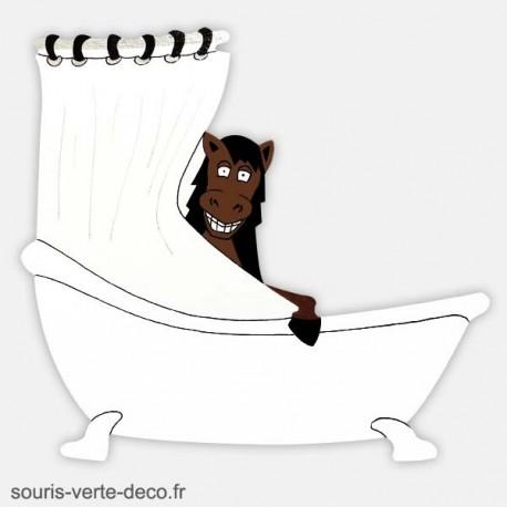 Plaque de porte de salle de bains humoristique cheval, signalétique humoristique