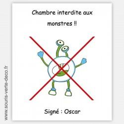 Plaque de porte anti-monstres avec prénom, personnalisable