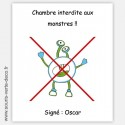 Plaque de porte anti-monstres avec prénom, décoration chambre enfant