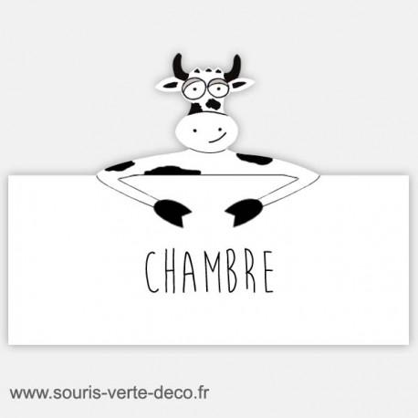 Plaque de porte humoristique vache, texte personnalisable