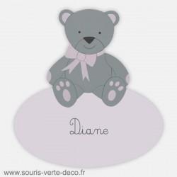 Plaque de porte ourson rose et gris avec prénom personnalisable