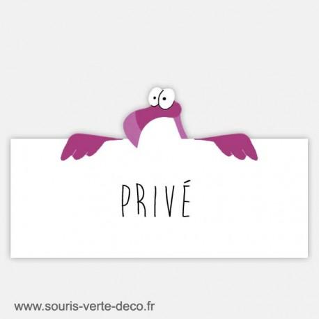 Plaque de porte humoristique flamant rose, texte personnalisable