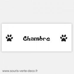 Plaque de porte de chambre, empreintes pattes de chat, personnalisable