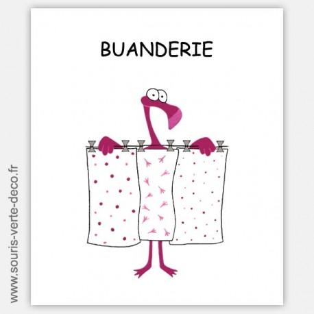 Plaque de porte de buanderie humoristique Flamant rose, personnalisable