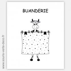 Plaque de porte de buanderie vache, signalétique humoristique