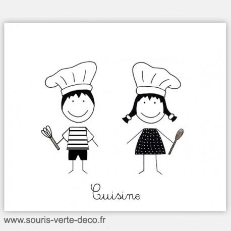 Plaque de porte de cuisine petits bonhommes gourmands, personnalisable