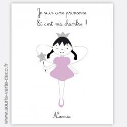 Plaque de porte princesse violette ou rose, prénom personnalisable, peinte à la main