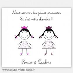 Plaque de porte princesses jumelles avec prénoms, décoration chambre jumelles ou chambre double