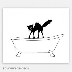 Plaque de porte de salle de bains chat hérissé, personnalisable