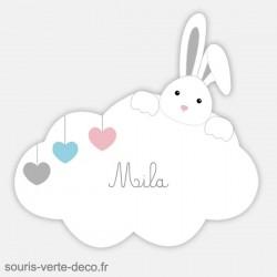 Plaque de porte lapin avec prénom, déco nuage chambre enfant, bébé, fille ou garçon