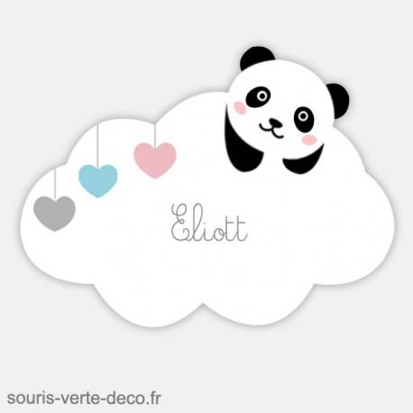 Plaque de porte nuage panda avec prénom, déco chambre enfant, bébé, fille ou garçon
