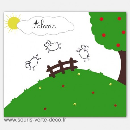 Plaque de porte petits moutons avec prénom pour chambre d'enfant, personnalisable