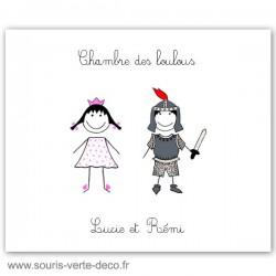 Plaque de porte princesse et chevalier avec prénoms, déco chambre jumeaux ou chambre double, cadeau naissance personnalisé