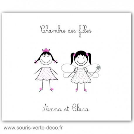 Plaque de porte princesse et fée avec prénoms, déco chambre jumeaux ou chambre double, cadeau naissance personnalisé