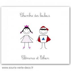 Plaque de porte princesse et super héros avec prénoms, déco chambre jumeaux ou chambre double, cadeau naissance personnalisé