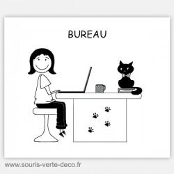 Plaque de porte de bureau fille et chat, humoristique et personnalisable