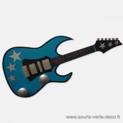 Portemanteau Guitare turquoise étoiles argent, personnalisable