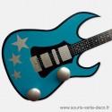 Portemanteau mural Guitare turquoise étoiles argent, personnalisable